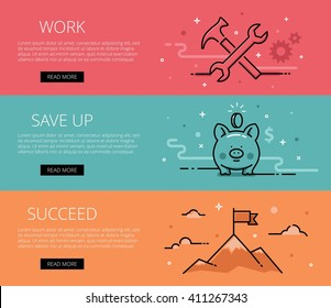 Linear financial web banners vector set. Line hammer, cogs, wrench, piggy bank, mountains, clouds and flag. Design set of graphic outline banners illustration
