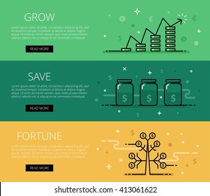 Linear financial web banners vector set. Line money piles, chart, money jars, money tree and currency symbols. Design set of graphic outline banners illustration