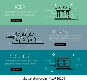 Linear financial web banners vector set. Line bank icon, money bags and safe. Design set of graphic outline banners illustration