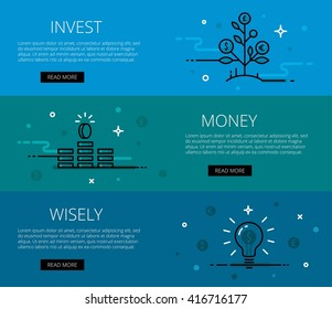 Linear financial web banners vector set. Line money tree, money piles and money light bulb. Design set of graphic outline banners illustration