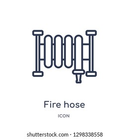 Linear fire hose icon from General outline collection. Thin line fire hose icon isolated on white background. fire hose trendy illustration