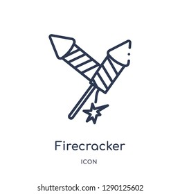 Linear firecracker icon from Christmas outline collection. Thin line firecracker vector isolated on white background. firecracker trendy illustration