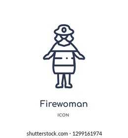 Linear firewoman icon from Ladies outline collection. Thin line firewoman icon isolated on white background. firewoman trendy illustration