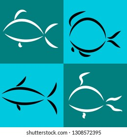 linear fishes on a blue background: shark, flounder, goldfish, crucian carp