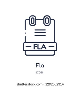 Linear fla icon from File type outline collection. Thin line fla icon vector isolated on white background. fla trendy illustration