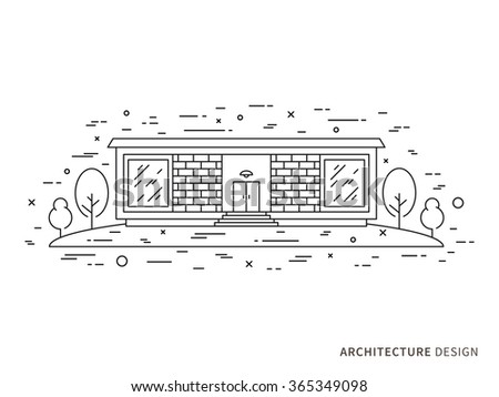 Linear Flat Architecture Landscape Illustration Modern Stock Vector