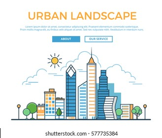 Linear Flat Buildings, skyscrapers, business center, offices and houses on sky shiny background vector illustration. Modern city, Urban landscape concept.