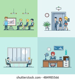 Linear Flat Business people at working places vector illustration set. Training or report, men at meeting room, routine work, woman entering elevator image. Office life concept.