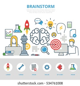 Linear flat Business people working, Brainstorm infographics template and icons website hero image vector illustration. Creative team concept.