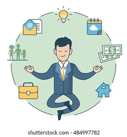 Linear Flat Businessman levitate in Zen pose and lamp, house, family silhouette money in circle around vector illustration. Human Values concept.
