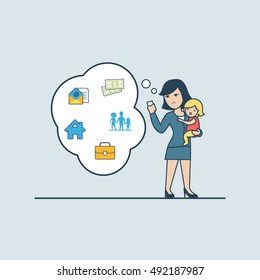 Linear Flat businesswoman hold crying baby, phone and thinking; message house family silhouette, money, suitcase in chat babble vector illustration. Business life values concept.