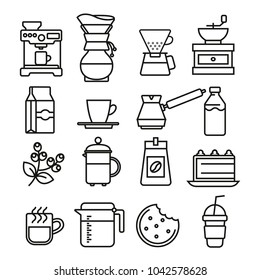 Linear flat coffee icons set
