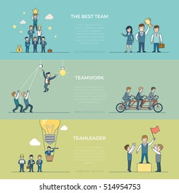 Linear Flat creative businesspeople teamwork infographics template vector illustration set. Business corporate company team work concept. Winners and leaders male and woman characters.