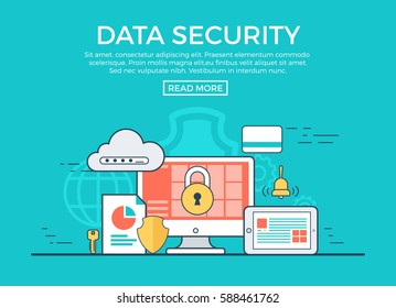 Linear flat Data Security infographics template and icons website hero image vector illustration. App programming technology and software concept. Blue background