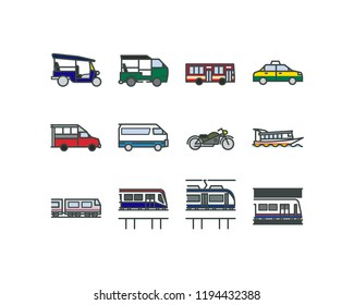 Linear flat design style icons of Bangkok public transportations. Such as Taxi, Tuk-Tuk, Boat, Skytrain. Isolated.