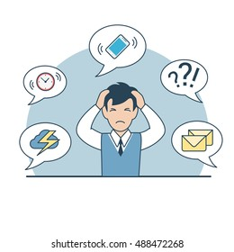 Linear Flat desperate tired businessman holding head, phone, storm cloud, mail, clock on chat bubbles around vector illustration. Business deadline, multitasking concept.