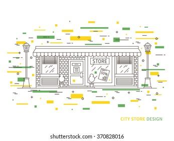 Linear flat exterior (landscape) design illustration of modern designer store (shop) with windows, decorative elements. Outline vector graphic concept of store (shop) exterior (landscape) design.