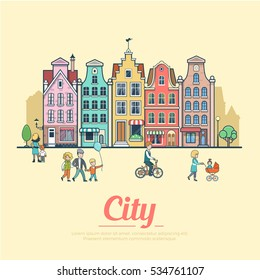 Linear Flat Families walking near old-fashioned vintage buildings vector illustration. Real Estate concept.