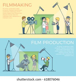 Linear Flat Film making and production vector illustration set. Entertainment concept.  Lovers, superhero, businesswoman, producer, operator, sound engineer characters.