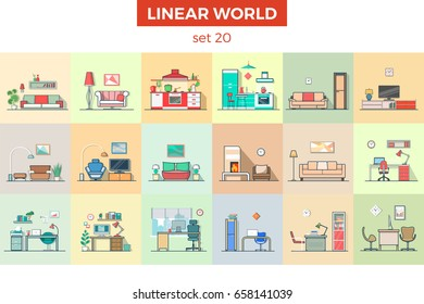 Linear flat furniture vector illustration set. Room interior concept. Chart, shelf, table, chair, plant, lamp, working place, kitchen, living room.