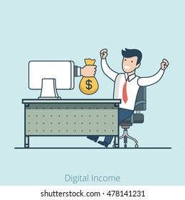 Linear Flat Hand from monitor gives money bag to happy manager vector illustration. E-business and e-commerce, online profit and passive income, royalty, gambler winner concept.