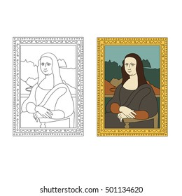 Linear flat illustration of The Mona Lisa by Leonardo da Vinci. La Joconde painting in golden frame. Portrait of Mona Lisa from Louvre Museum.