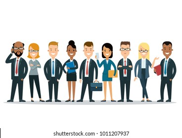 Linear flat international business infographics icons template website hero image vector illustration. Worldwide global corporate people team characters set concept.
