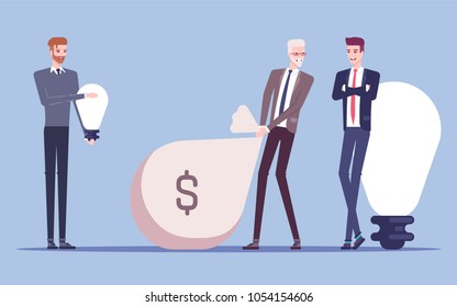 Linear Flat Investor offering profit for Idea vector illustration. Money bag, lamp and businessmen characters. Business investments concept.