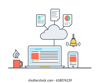 Linear flat Laptop connected to Data base cloud infographics template vector illustration. App technology and software concept.
