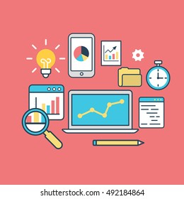 Linear Flat laptop, diagram, phone, gearwheel, lamp and timer vector illustration. Analysis and database statistic systems concept.