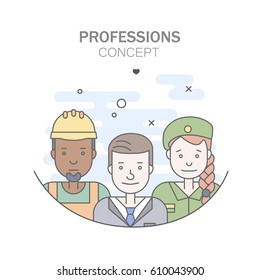 Linear Flat people faces and professions vector illustration.