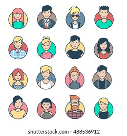 Linear Flat people faces vector icon set. Social media avatar, userpic and profiles.