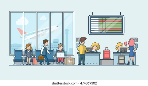 Linear Flat people on airport waiting hall and flight registration luggage stripe vector illustration. Public transportation concept.