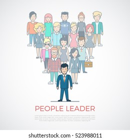Linear Flat people standing after leader man in suit forming triangle vector illustration. Leadership in business concept.