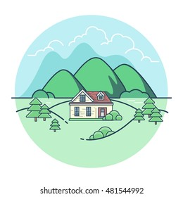 Linear Flat Pretty house among mountains and trees, green background vector illustration. Eco village, union with nature concept.