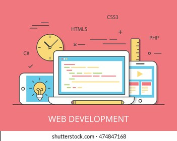 Linear Flat responsive web development layout website hero image vector illustration. App programming technology and software concept. C#, PHP, HTML5, CSS3 technologies, laptop, tablet and smartphone.