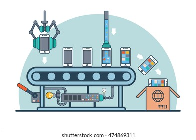 Linear Flat smartphones on conveyor fueling with firmware and software vector illustration. Mobile phone production line and packaging concept.