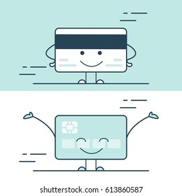 Linear Flat smiley credit card back side, happy debit card front view vector illustration set. Banking financial business concept.
