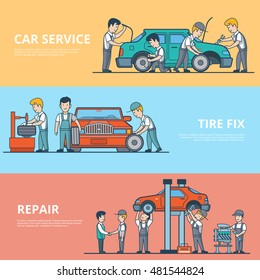 Linear Flat Technical car diagnostic, dismantling and repair service concepts set of website hero images. Tire fix, motor and battery test vector illustration. Mechanic workers happy client characters