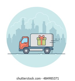 Linear Flat Van with present box on board moving on cityscape vector illustration. Transportation company, surprise delivery concept.