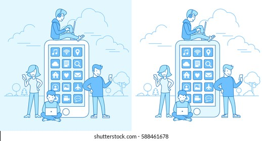 Linear Flat young people using their devices sitting on huge smartphone, standing vector illustration. Mobile application concept. Blue nature background with trees and clouds