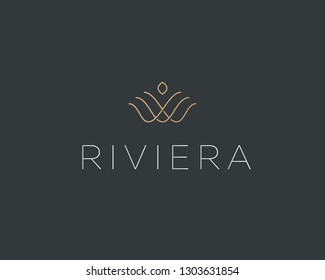 Linear flower crown logotype. Royal real estate icon symbol. Shell pearl vector logo.