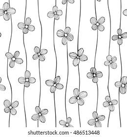 Linear flower vector seamless pattern