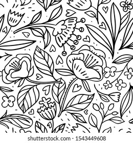 linear flowers on monotone drawings. vector floral seamless pattern with hand drawn fantasy blooms.ink sketch imitation.