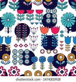 Linear flowers in Scandinavian style. Summer motive. Vector seamless pattern.Can be used in textile industry, paper, background, scrapbooking.