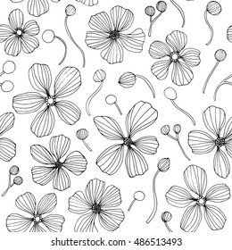 Linear flowers - vector seamless pattern