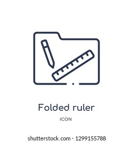 Linear folded ruler icon from Measurement outline collection. Thin line folded ruler icon isolated on white background. folded ruler trendy illustration