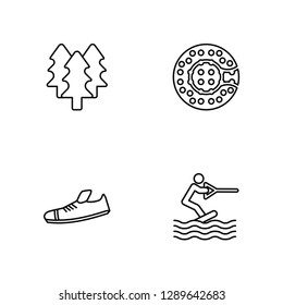 Linear Forest, Shoes, Zorbing, Wakeboarding Vector Illustration Of 4 outline Icons. Editable Pack Of Forest, Shoes, Zorbing, Wakeboarding