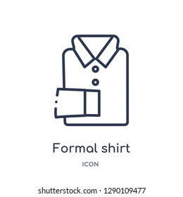 Linear formal shirt icon from Clothes outline collection. Thin line formal shirt vector isolated on white background. formal shirt trendy illustration