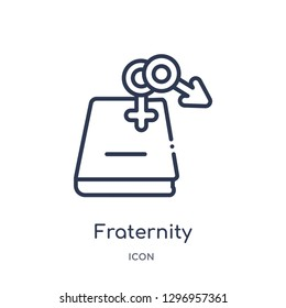 Linear fraternity icon from Education outline collection. Thin line fraternity icon isolated on white background. fraternity trendy illustration